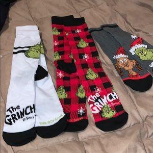 3 Dr Seuss grinch socks, new , never worn